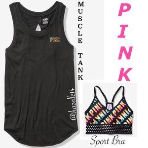 PINK SLIT BACK MUSCLE TANK & SPORT BRA